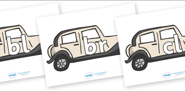 Initial Letter Blends on Wedding Cars - Initial Letters, initial letter, letter blend, letter blends, consonant, consonants, digraph, trigraph, literacy, alphabet, letters, foundation stage literacy