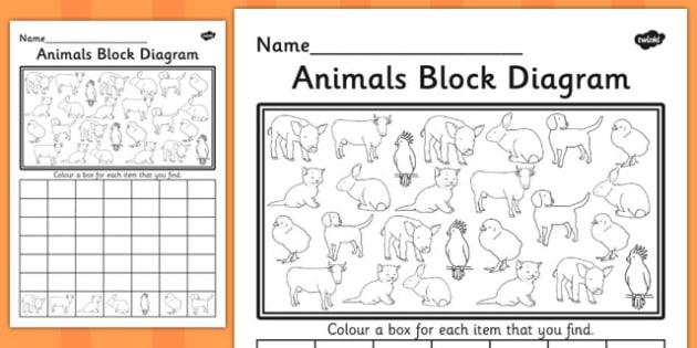 Animals Block Diagram Activity Sheet - graphs, record, activities, worksheet