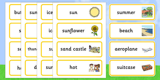 Summer Word Cards - Summer, Word cards, Word Card, flashcard, flashcards, season, holiday, holidays, beach, sun, flowers, ice cream, sea, seaside