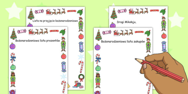 Christmas Role Play Writing Borders Polish - writing, diplay, neat, final copy, margins, festive, pictures, images, early years, ks1, ks2