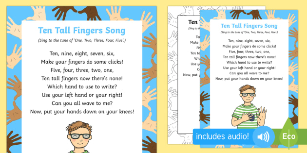 Ten Tall Fingers Song