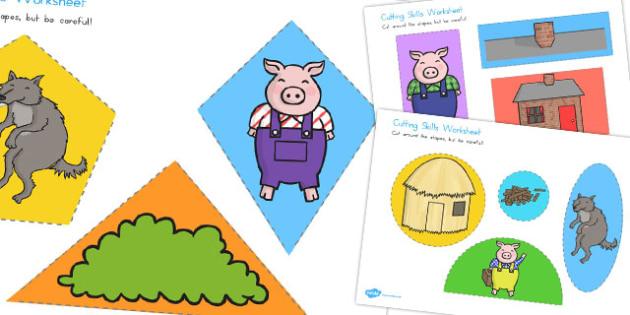 The Three Little Pigs Themed Cutting Skills Worksheet - australia
