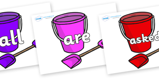 Tricky Words on Spade and Buckets - Tricky words, DfES Letters and Sounds, Letters and sounds, display, words