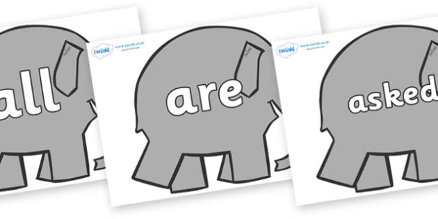 Tricky Words on Elephants to Support Teaching on Elmer - Tricky words, DfES Letters and Sounds, Letters and sounds, display, words
