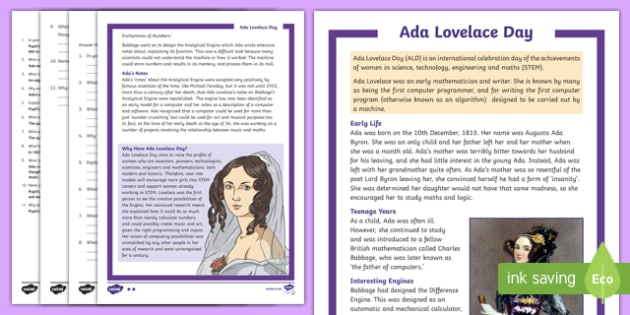 Ada Lovelace Day 10th October Differentiated Reading Comprehension Activity