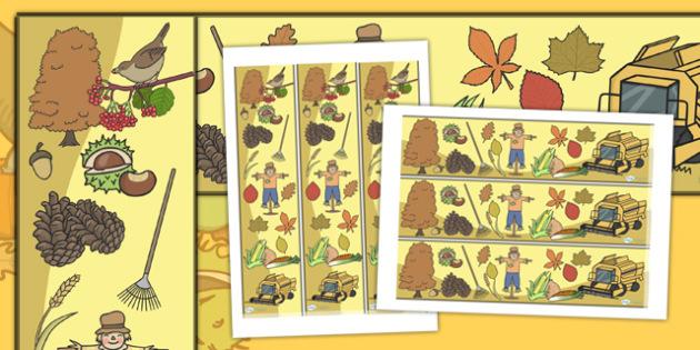 Harvest Display Borders - Display border, classroom border, border, Harvest, Autumn, seasons,  A4, display, harvest,  harvest festival, fruit, apple, pear, orange, wheat, bread, grain, leaves, conker