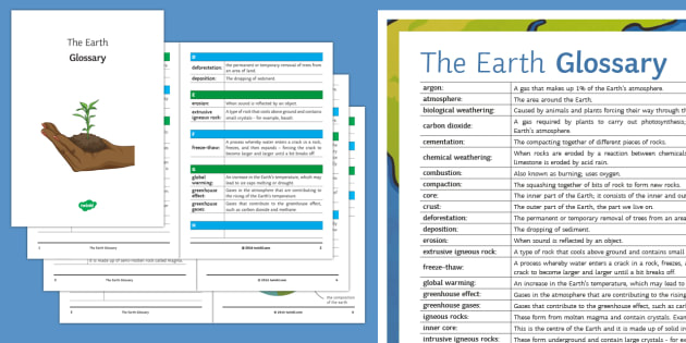 The Earth Glossary - Glossary, earth, weathering, rocks, erosion, greenhouse gases, igneous, metamorphic, sedimentary