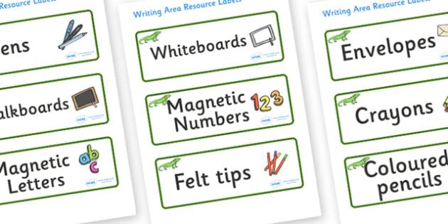 Iguana Themed Editable Writing Area Resource Labels - Themed writing resource labels, literacy area labels, writing area resources, Label template, Resource Label, Name Labels, Editable Labels, Drawer Labels, KS1 Labels, Foundation Labels, Foundation
