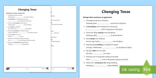 Changing Tense Worksheets changing tense past future present – Past Tense Worksheet