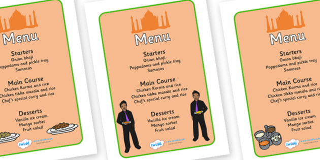 Indian Restaurant Role Play Menu - Indian restaurant, role play, curry, food, takeaway, menu, Indian culture, India, poppdom