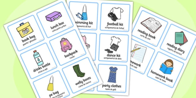 SEN Communication Cards Things To Remember Girl Romanian Translation - romanian
