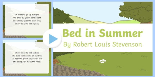 Bed in Summer by Robert Louis Stevenson Poem PowerPoint