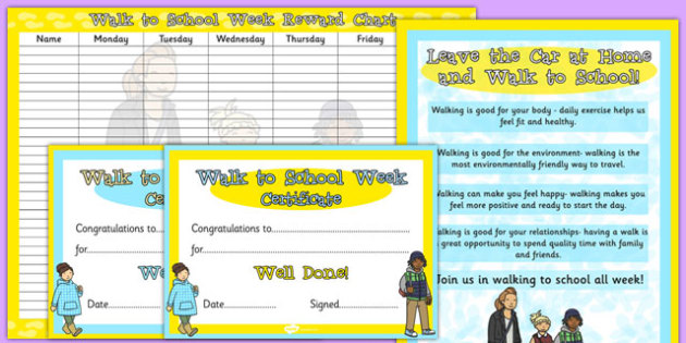 Walk to School Week Resource Pack - walk to school week, resource pack, walk, school, pack