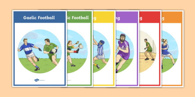 Official Games of the GAA Display Posters and Colouring Sheets - GAA, gaelic, sport, ireland, football, irish, traditional, colouring, PE, display, hurling, handball, camogie, rounders