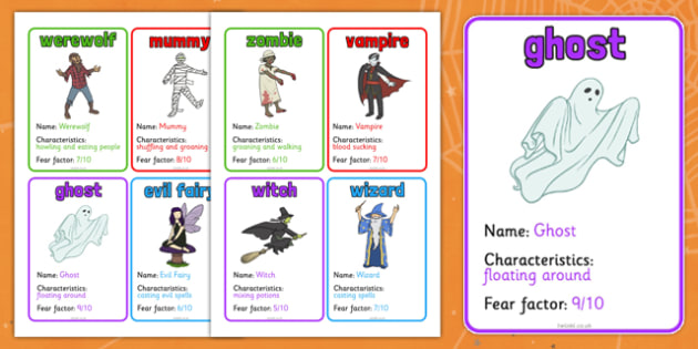 halloween monster card game halloween game activity topic - Halloween Fear Factor Games