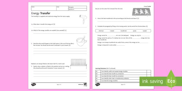 KS3 Energy Transfer Homework Activity Sheet