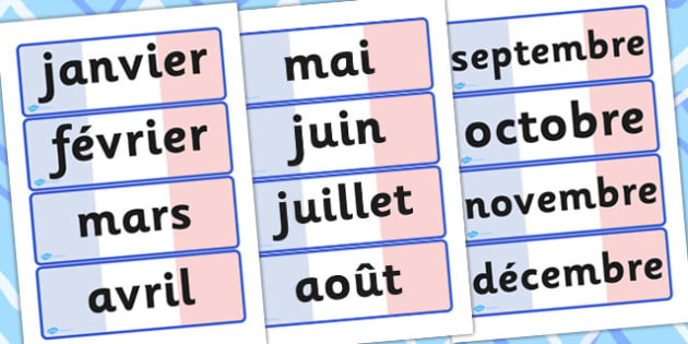French Months Of The Year Word Cards - visual, aids, language