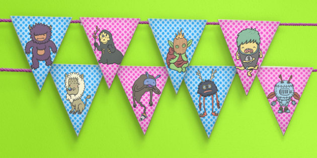 Monster Themed Bunting - monster, bunting, display, fantasy