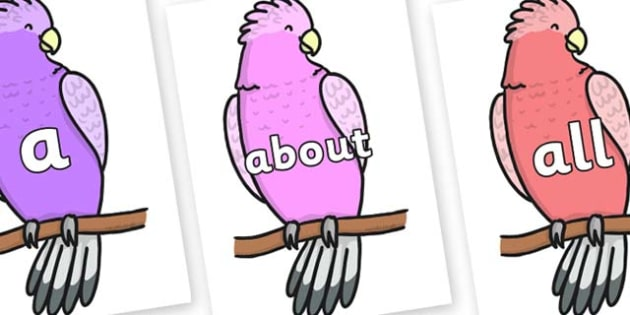 100 High Frequency Words on Galah - High frequency words, hfw, DfES Letters and Sounds, Letters and Sounds, display words