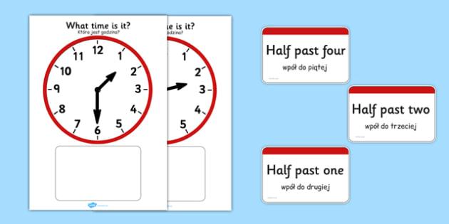 Analogue Clocks Matching Polish Translation - polish, Clock time matching game, Time, Time resource, Time vocabulary, clock face, O'clock, half past, quarter past, quarter to, shapes spaces measures, clock game, time game, foundation stage, KS1