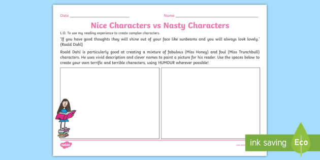 Nice Characters vs Nasty Characters Worksheet to Support Teaching on Matilda - stories