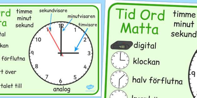 Swedish Time Word Mat - swedish, time, words, mat, word mat