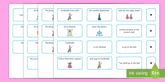 Cinderella Sentence Building Cards - cinderella, sentence, building