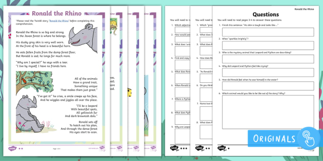First Level Ronald The Rhino Differentiated Comprehension Go Respond Activity Sheets - Children's Books, Ronald the Rhino, children's book, rhyme, story, text, rhyming couplets, syllabl