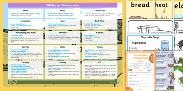 EYFS Harvest Enhancement Ideas and Resources Pack - ideas, information early years, progress, improvement, learning, planning, resources, planning