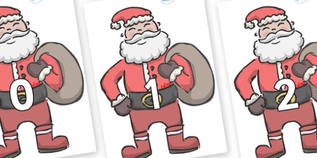 Numbers 0-50 on Santas - 0-50, foundation stage numeracy, Number recognition, Number flashcards, counting, number frieze, Display numbers, number posters