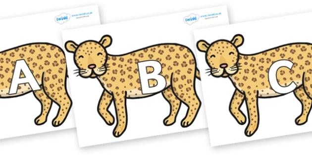 A-Z Alphabet on Leopards - A-Z, A4, display, Alphabet frieze, Display letters, Letter posters, A-Z letters, Alphabet flashcards