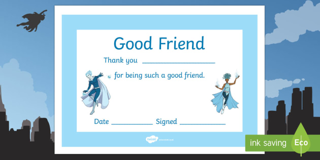Anti-Bullying Week Superhero Good Friend Certificate