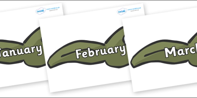 Months of the Year on Tadpoles - Months of the Year, Months poster, Months display, display, poster, frieze, Months, month, January, February, March, April, May, June, July, August, September