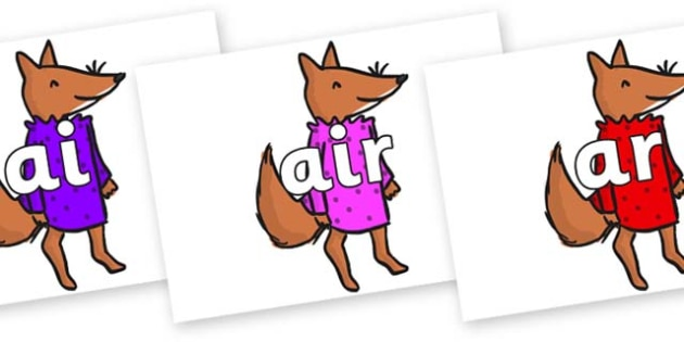 Phase 3 Phonemes on Small Fox 3 to Support Teaching on Fantastic Mr Fox - Phonemes, phoneme, Phase 3, Phase three, Foundation, Literacy, Letters and Sounds, DfES, display