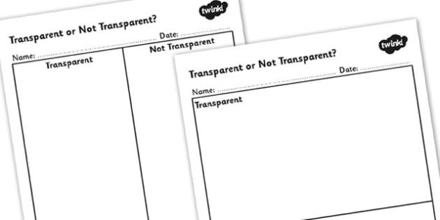 Transparent or Not Transparent Table - transparent materials, transparent or not transparent, transparent worksheet, transparent sorting worksheet, ks2