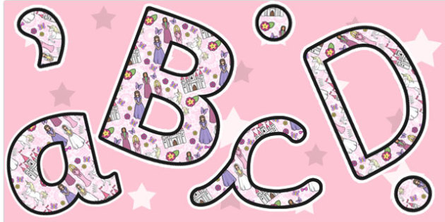 Princess Themed Size Editable Display Lettering - display, letter