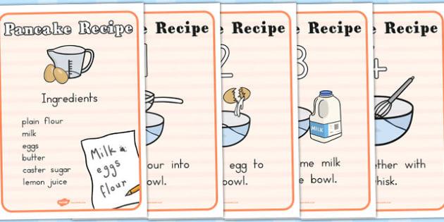 A4 Pancake Recipe Sheets - australia, pancake, recipe, sheets