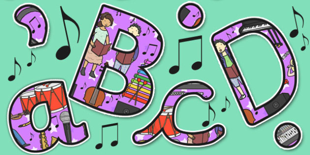 Music Themed Size Editable Display Lettering - Music, Lettering