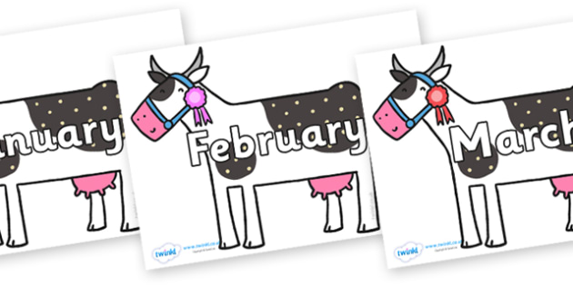 Months of the Year on Cow to Support Teaching on What the Ladybird Heard - Months of the Year, Months poster, Months display, display, poster, frieze, Months, month, January, February, March, April, May, June, July, August, September