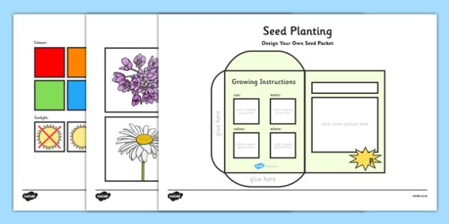 Seed Planting Sheets - seed, garden, seeds, sheets, worksheet, activity, planting, plants, growing instructions, flower pots