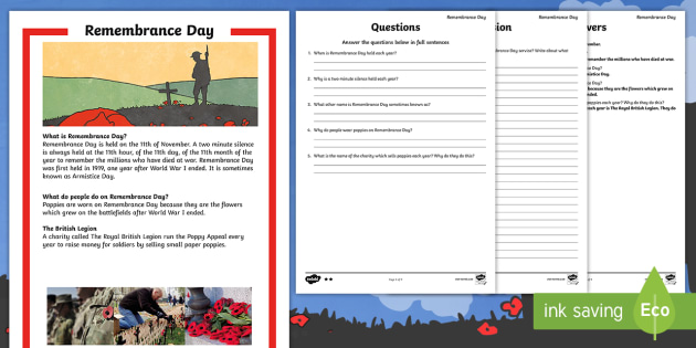 Remembrance Day Differentiated Reading Comprehension - remembrance day, differentiated, reading