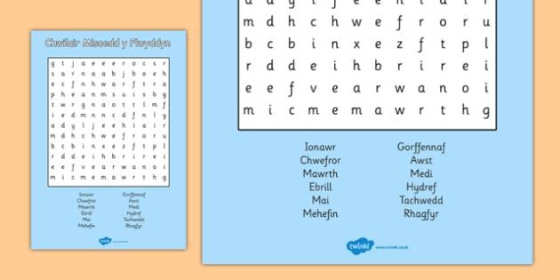 Misoedd y Flwyddyn Wordsearch Cymraeg - cymraeg, months, year, wordsearch