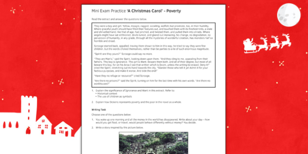 Mini Exam Practice A Christmas Carol: Poverty - mini, exam, practice, a christmas carol