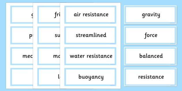 Forces Word Cards - visual, literacy, aids, vocabulary, visuals