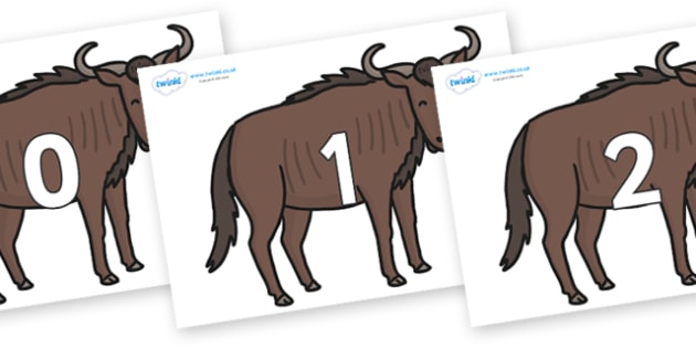 Numbers 0-31 on Wildebeests - 0-31, foundation stage numeracy, Number recognition, Number flashcards, counting, number frieze, Display numbers, number posters