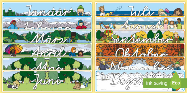 Months of the Year Display Banner Pack German - german, months, year, display, banner