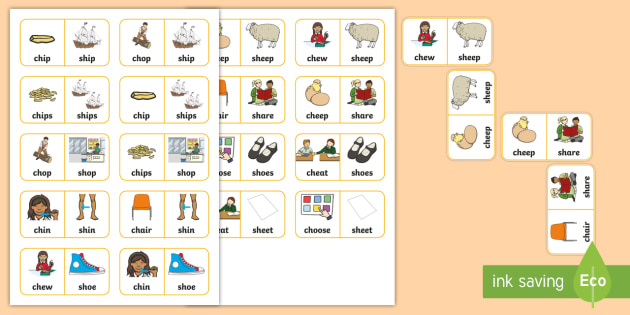 'ch' and 'sh' Minimal Pair Dominoes - speech sounds, affricates, apraxia, dyspraxia, articulation, phonology, minimal pairs, speech therap