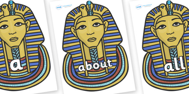 100 High Frequency Words on Tutankhamun - High frequency words, hfw, DfES Letters and Sounds, Letters and Sounds, display words