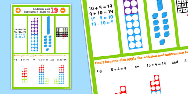 Addition and Subtraction Facts to 19 Display Poster - addition, subtraction, facts, 19, display poster