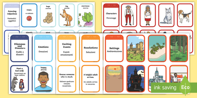 Story Writing Prompt Cards Pack Italian Translation - English/Italian - Story Writing Prompt Cards Pack - story writing, prompts, activity, pack, creative writing, story pl